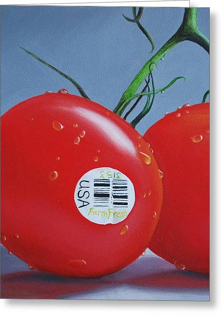 Tomatoes With Sticker Greeting Card