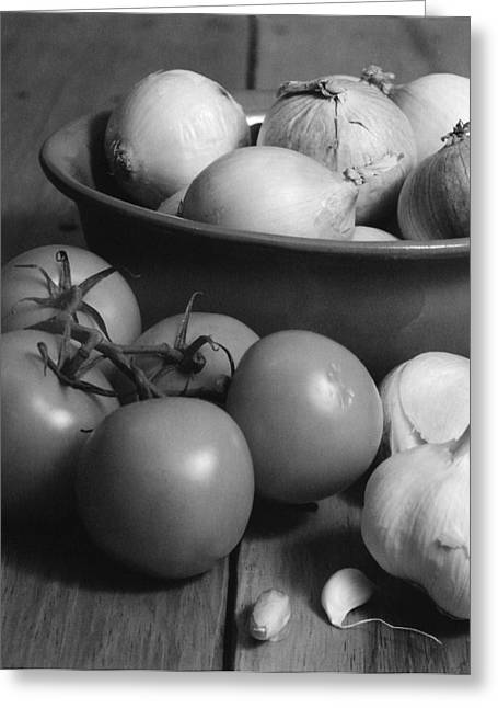 Tomatos Onion And Garlic Greeting Card by Henry Krauzyk