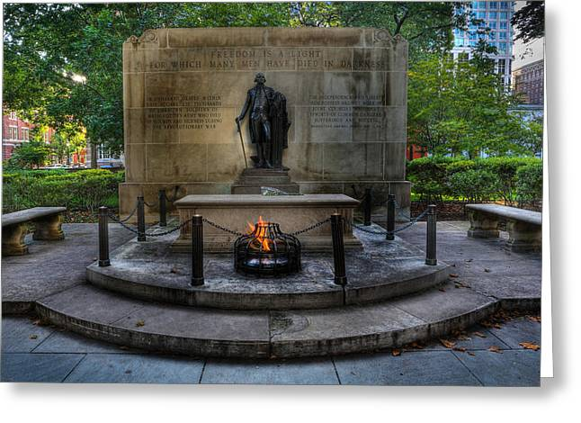 Statue Portrait Greeting Cards - Tomb of the Unknown Revolutionary War Soldier - George Washington  Greeting Card by Lee Dos Santos