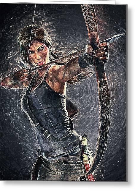 Greeting Card featuring the digital art Tomb Raider by Taylan Apukovska