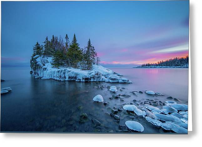 Tombolo Sunset // North Shore, Lake Superior  Greeting Card by Nicholas Parker