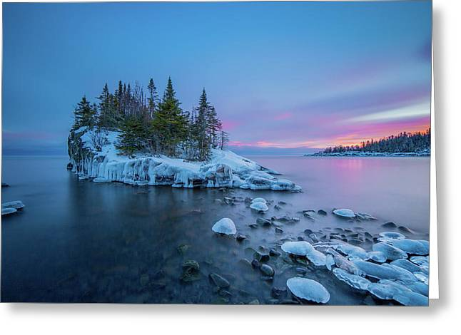 Tombolo Sunset // North Shore, Lake Superior  Greeting Card