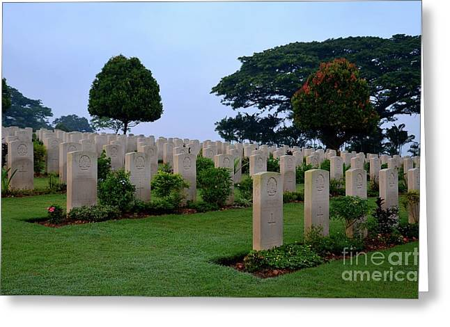 Tombstones Of Soldiers At Kranji Commonwealth War Cemetery Graveyard Singapore Greeting Card by Imran Ahmed