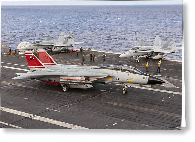 Tomcatters Aboard The Uss Theodore Roosevelt Greeting Card