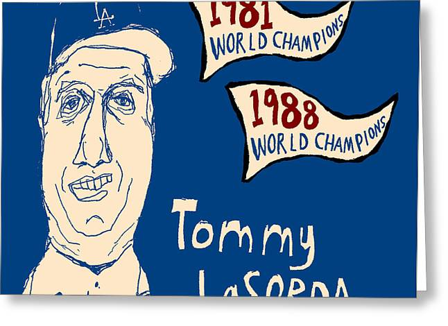 Tommy Lasorda Los Angeles Dodgers Greeting Card by Jay Perkins