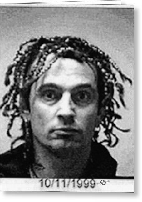 Tommy Lee Motley Crue Mug Shot Black And White Vertical Greeting Card by Tony Rubino