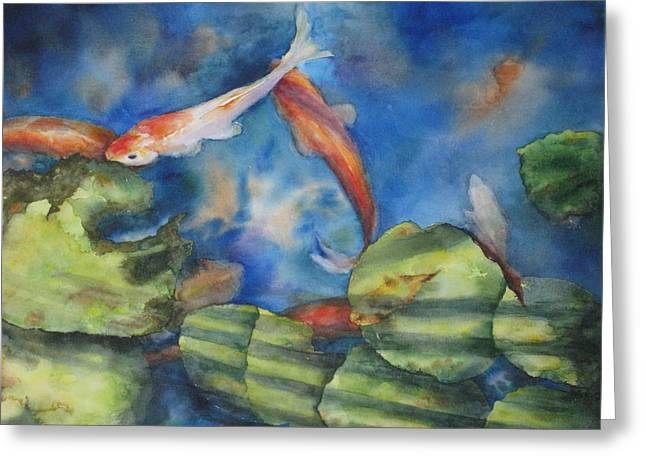 Greeting Card featuring the painting Tom's Pond by Mary McCullah