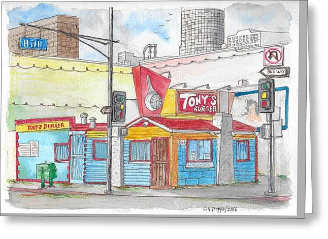 Tony Burger, Downtown Los Angeles, California Greeting Card