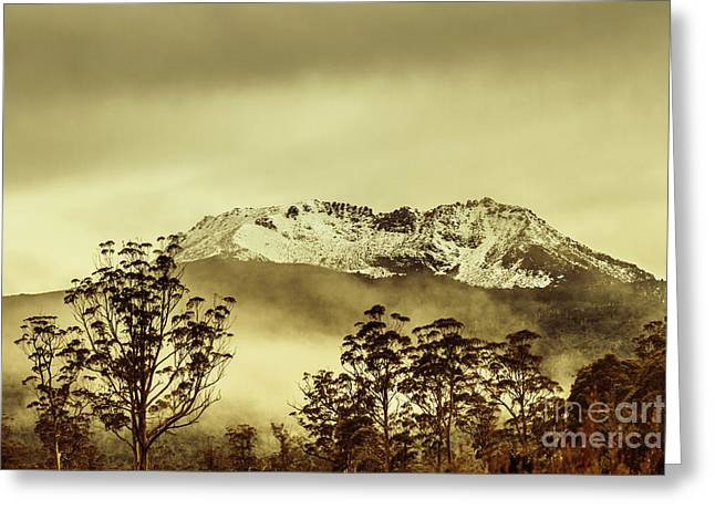 Toned View Of A Snowy Mount Gell, Tasmania Greeting Card by Jorgo Photography - Wall Art Gallery
