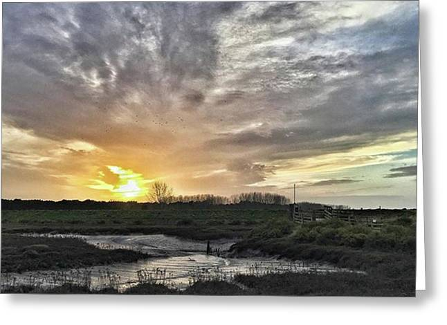 Tonight's Sunset From Thornham Greeting Card