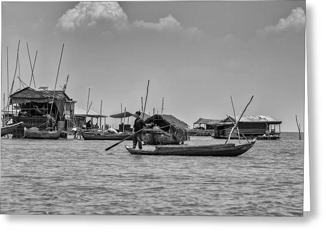 Lake House Greeting Cards - Tonle Sap Life Greeting Card by Nomad Art And  Design