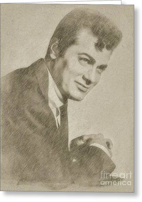 Tony Curtis Vintage Hollywood Actor Greeting Card by Frank Falcon