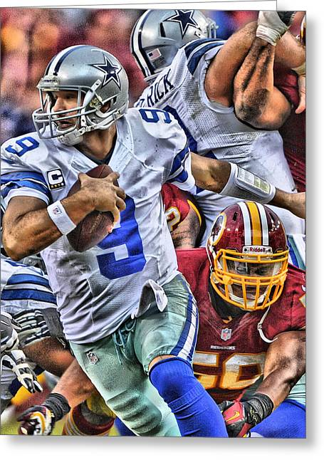 Tony Romo Dallas Cowboys Art Greeting Card