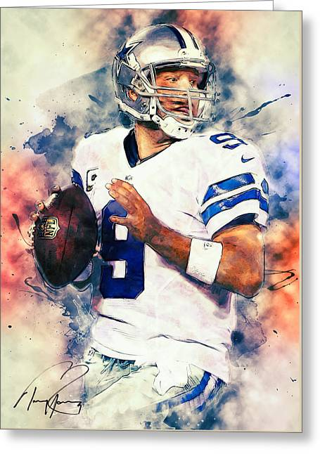 Tony Romo Greeting Card by Taylan Apukovska