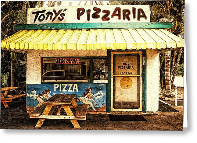 Tony's Pizzaria Greeting Card by Ron Regalado