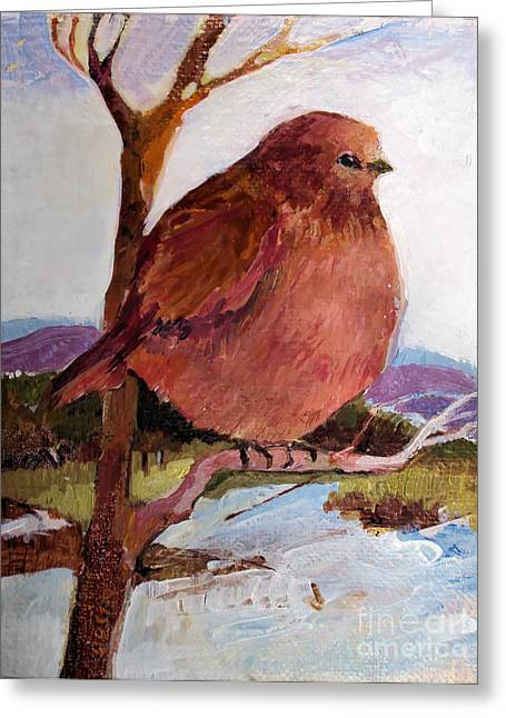 Greeting Card featuring the painting Too Fat To Fly by Diane Ursin