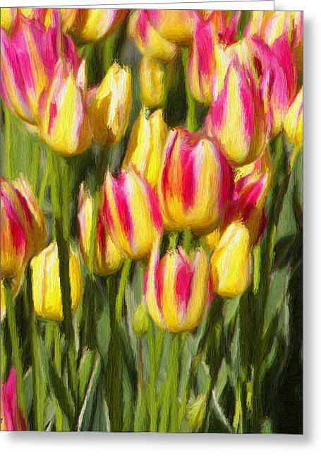 Yellow Flowers Greeting Cards - Too Many Tulips Greeting Card by Jeff Kolker