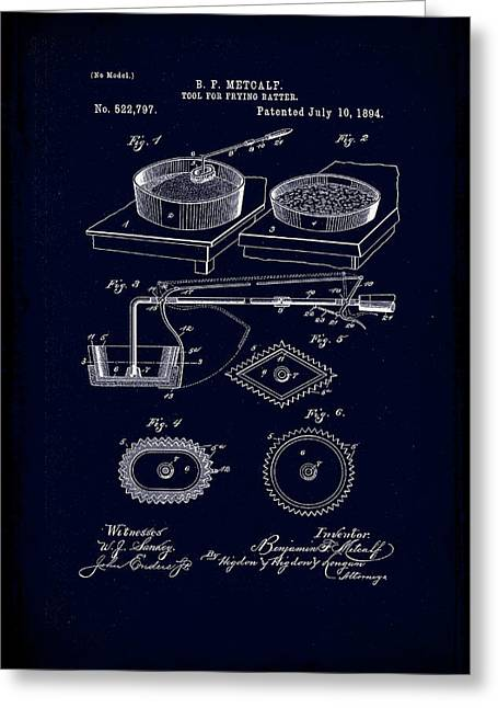 Tool For Frying Batter Patent Drawing 1e Greeting Card