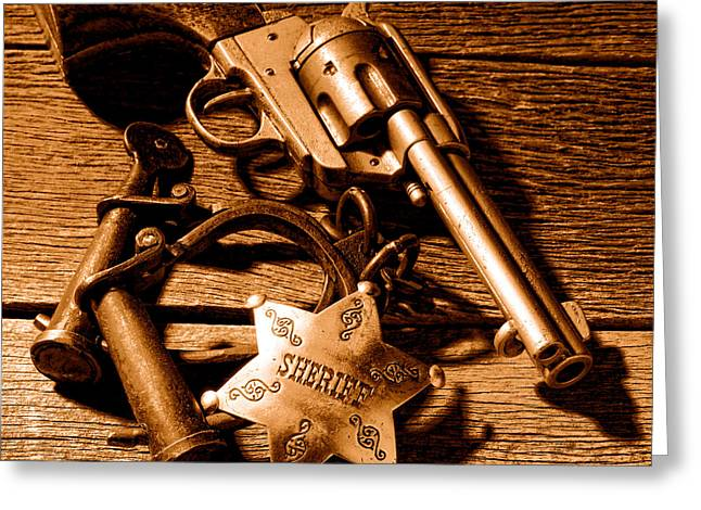 Tools Of Western Justice - Sepia Greeting Card by Olivier Le Queinec