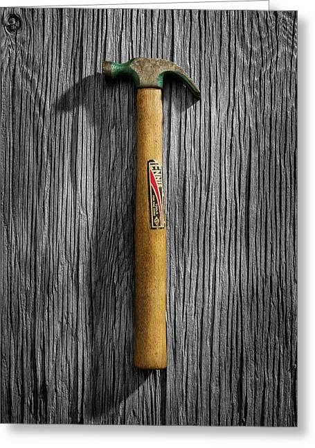 Tools On Wood 17 On Bw Greeting Card by YoPedro
