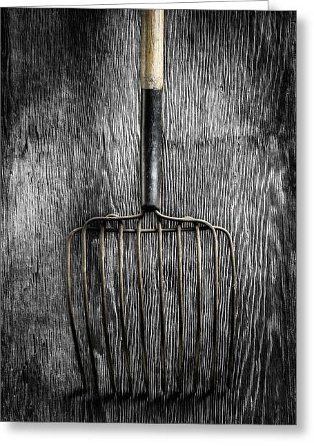Tools On Wood 25 On Bw Greeting Card by YoPedro