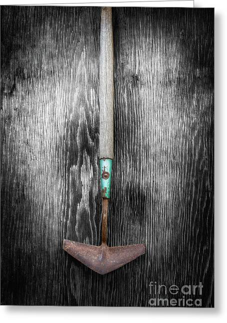 Tools On Wood 5 On Bw Greeting Card by YoPedro