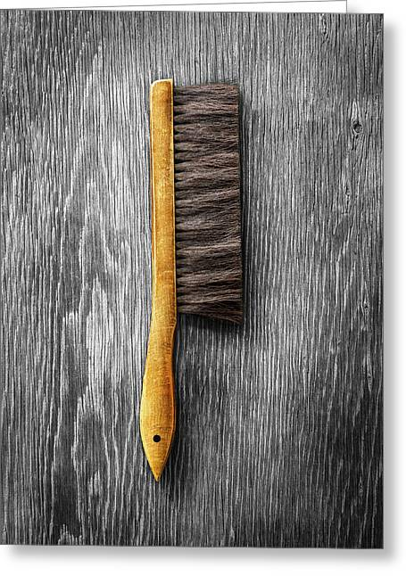 Tools On Wood 52 On Bw Greeting Card by YoPedro