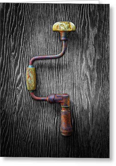 Greeting Card featuring the photograph Tools On Wood 61 On Bw by YoPedro