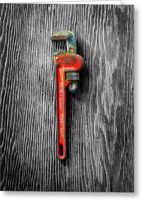 Tools On Wood 62 On Bw Greeting Card