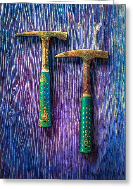 Tools On Wood 65 Greeting Card by YoPedro