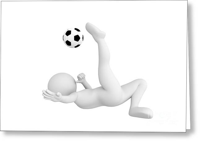 Toon Man Soccer Player Shooting Ball In Overhead Kick Pose. Football Concept. Greeting Card