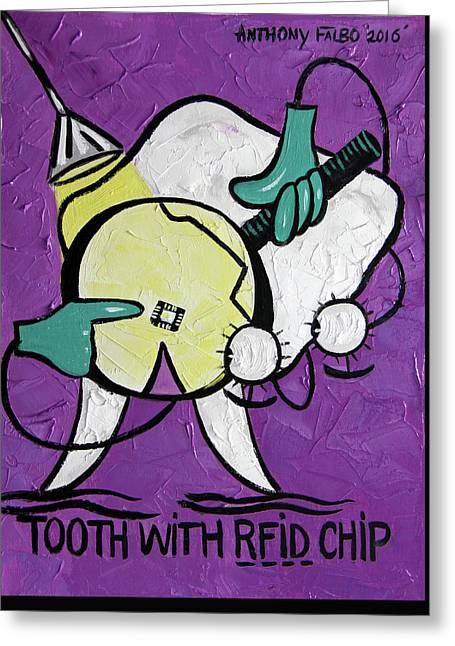 Tooth With A Rfid Chip Greeting Card by Anthony Falbo