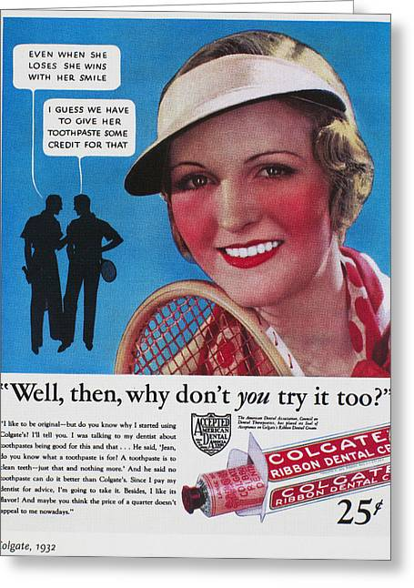 Toothpaste Ad, 1932 Greeting Card