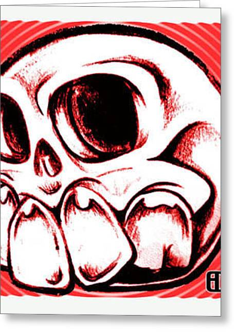 Toothy Skull Greeting Card by Eric De La Fuente