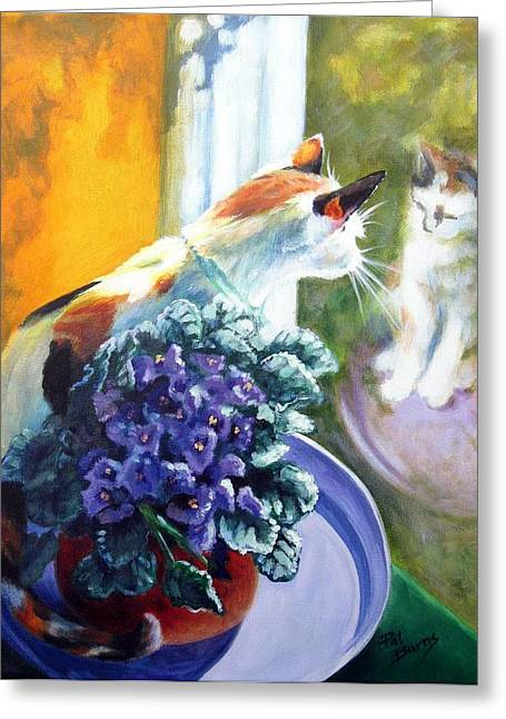 Cat Reflection Greeting Cards - Tootsie Too Greeting Card by Pat Burns