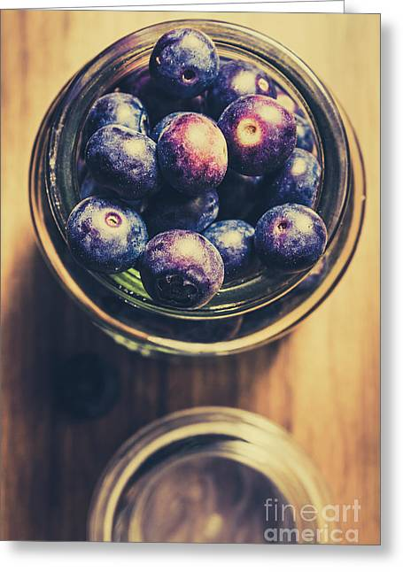 Top Down View Of Ripe Blueberries In A Jar Greeting Card by Jorgo Photography - Wall Art Gallery