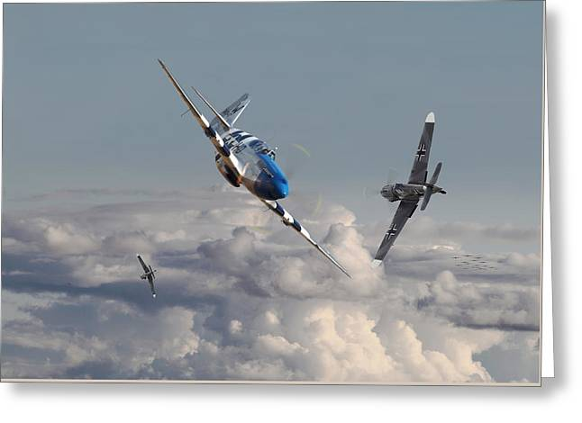 Top Gun - 1944 Version - P51 V Bf109g Greeting Card