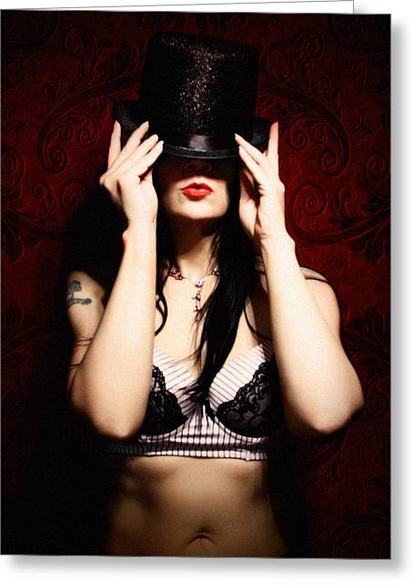 Top Hat And  Lingerie - Color Greeting Card by Dorothy Lee