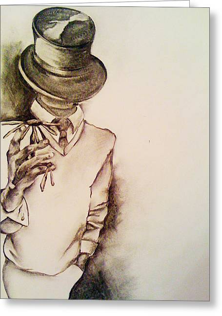 Black Top Drawings Greeting Cards - Top Hat Greeting Card by Danielle Nicole
