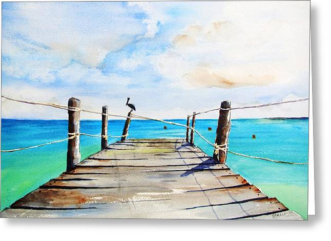 Top Of Old Pier On Playa Paraiso Greeting Card