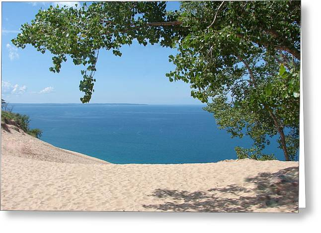 Awesome Greeting Cards - Top of the Dune at Sleeping Bear Greeting Card by Michelle Calkins