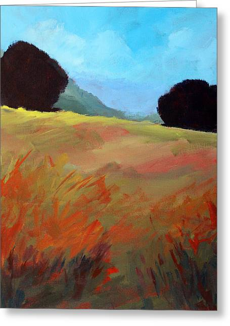 Top Of The Hill Greeting Card by Nancy Merkle
