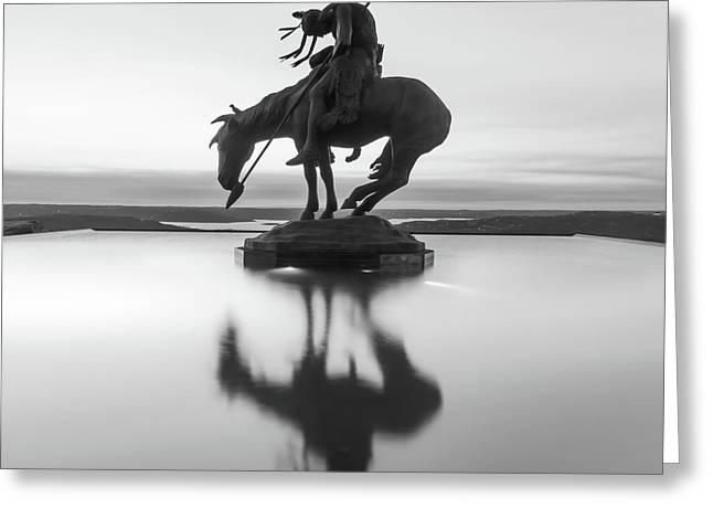 Top Of The Rock Native American Statue Silhouette Reflections Bw Greeting Card