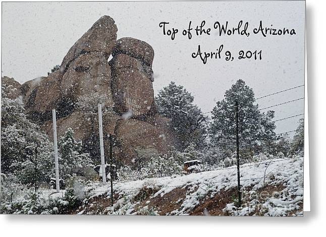 Top Of The World Arizona Greeting Card by Methune Hively