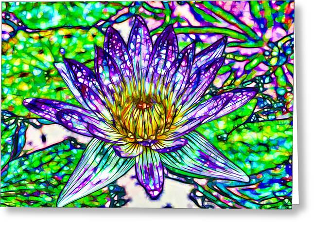 Top View Of A Beautiful Purple Lotus Greeting Card