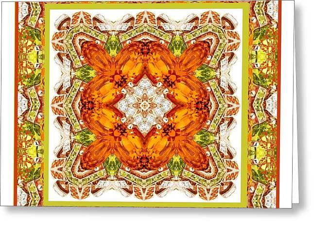 Topaz And Peridot Bling Kaleidoscope Greeting Card