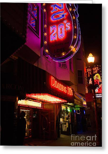 Greeting Card featuring the photograph Topless Bar Signs At Night In North Beach San Francisco by Jason Rosette