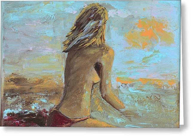 Topless Beach Greeting Card by Donna Blackhall