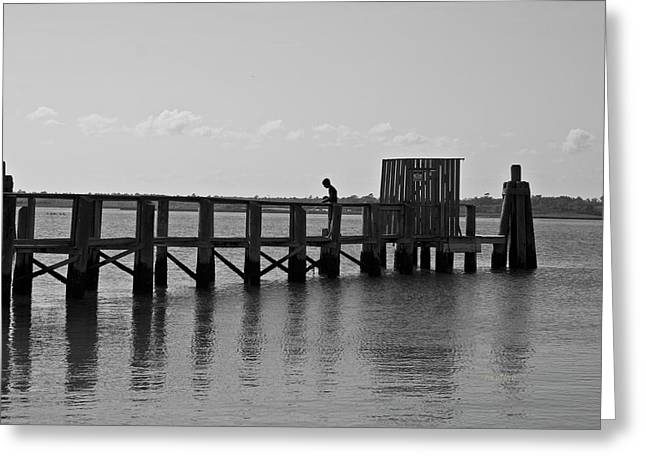 Topsail Beach Gov Access Pier Greeting Card by Betsy Knapp