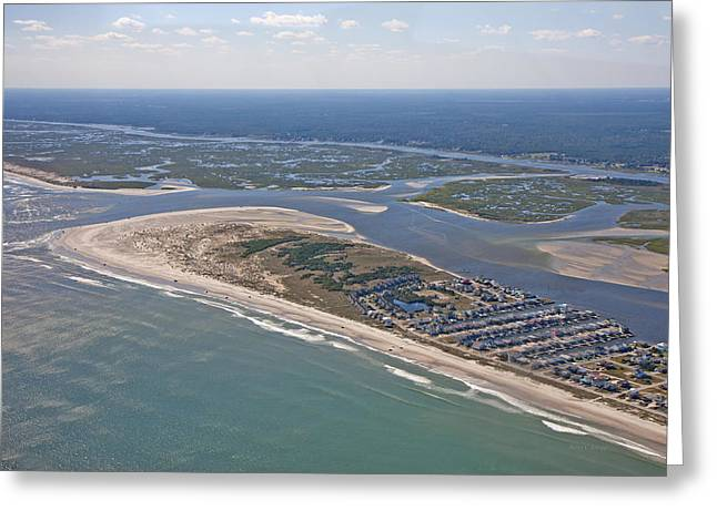 Topsail Island Aerial Greeting Card by Betsy Knapp